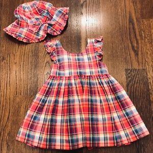 Ralph Lauren Baby Girl's Madras Dress & Hat (6 Mo)
